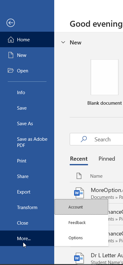 Image shows the sidebar menu in the backstage area of Microsoft Word. The cursor is pointing to the